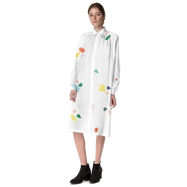 Paint Splatter Long Sleeve Dress