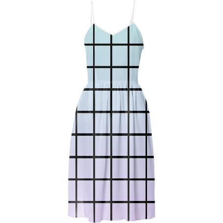 Pastel Gradient Grid Summer Dress
