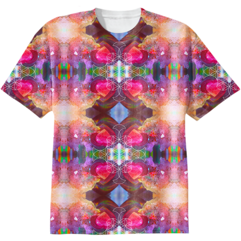 rainbow amethyst and rose quartz crystal rainbow mandala ~ cotton tshirt  ~ design 01