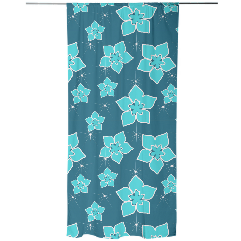 Blue Flowers Explosion Curtain