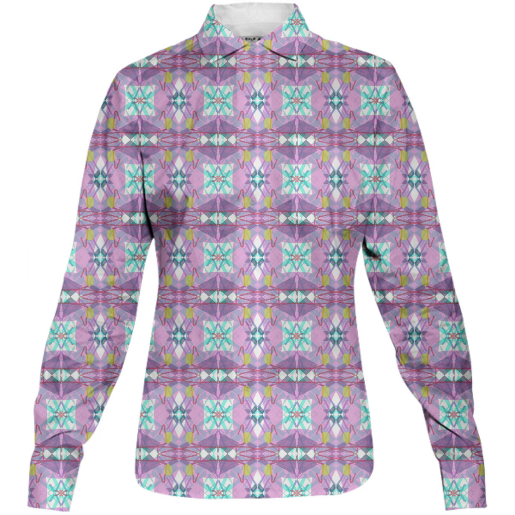 Pink Country Quilt Womens Button Down Shirt
