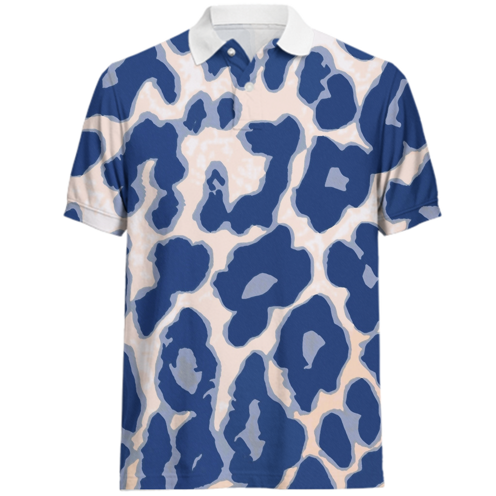 Blue Animal Print Men's Juul Polo Shirt