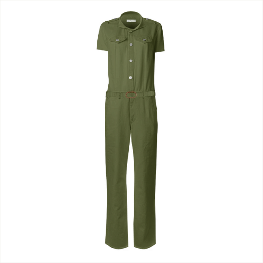 Solid Army Green Color Gabriel Held Belted Jumpsuit