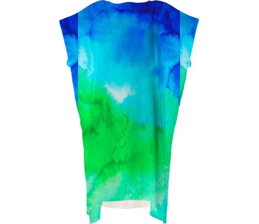 Blue and Green Watercolor Long Dress