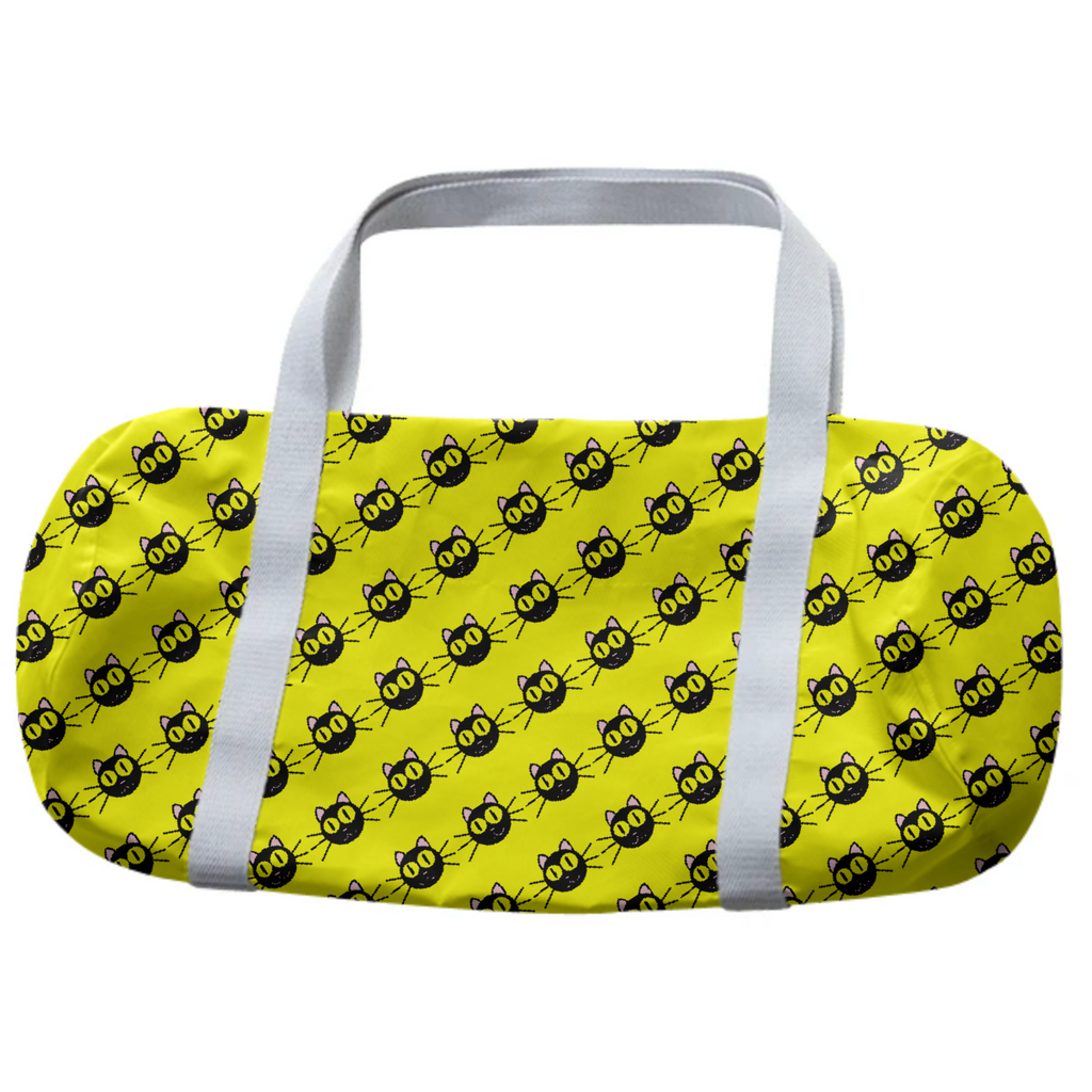 Yellow duffel bag with black cats pattern