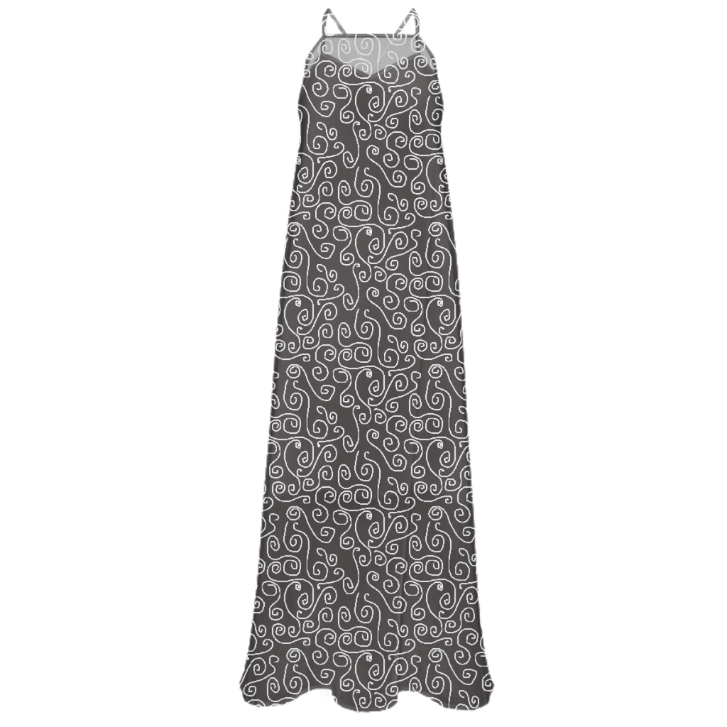 White Swirls On Gray Chiffon Maxi Dress