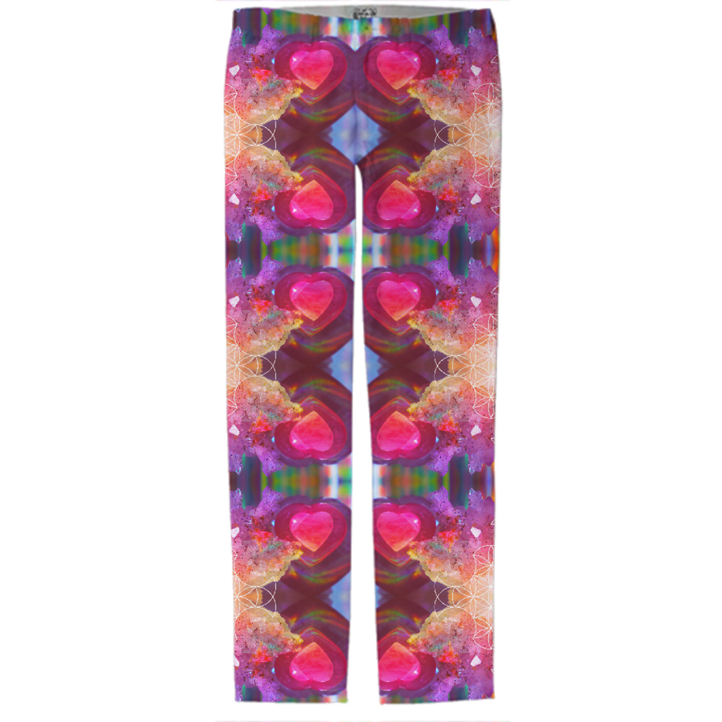 rainbow amethyst and rose quartz crystal rainbow mandala ~ pants ~ design 01