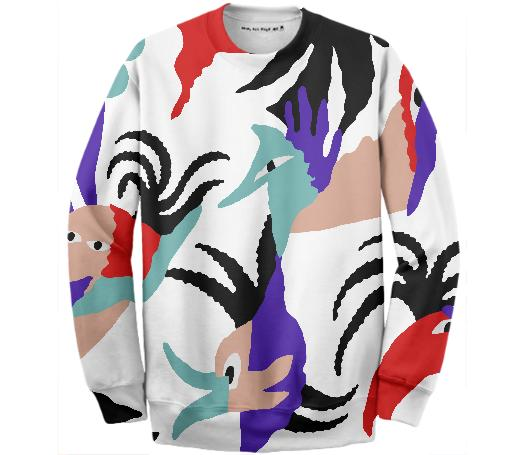 PAOM, Print All Over Me, digital print, design, fashion, style, collaboration, gambette, Cotton Sweatshirt, Cotton-Sweatshirt, CottonSweatshirt, Birds, Paradise, Sweater, autumn winter, unisex, Cotton, Tops