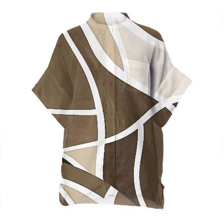 Beige Abstract Boxy Linen Shirt