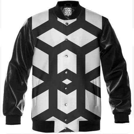 Geometric Men s Black and White Varsity Jacket