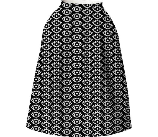 Black White Eyes Neoprene Full Skirt