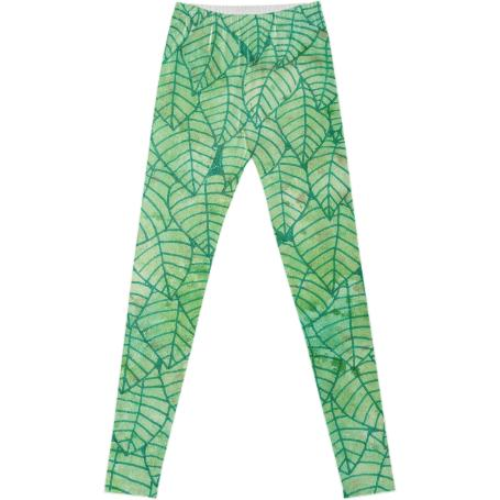 Green foliage Fancy Leggings
