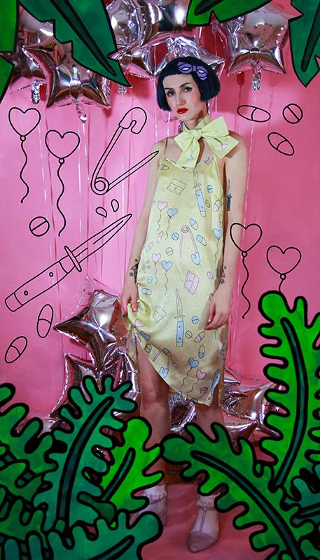 PAOM, Print All Over Me, digital print, design, fashion, style, collaboration, itsstellarose, Slip Dress, Slip-Dress, SlipDress, Bad, Baby, autumn winter spring summer, unisex, Silk, Dresses