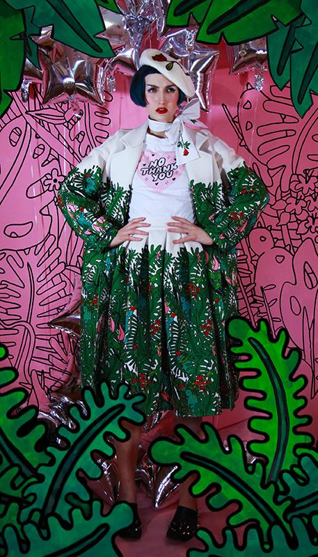 PAOM, Print All Over Me, digital print, design, fashion, style, collaboration, itsstellarose, Neoprene Trench, Neoprene-Trench, NeopreneTrench, Tropical, autumn winter, unisex, Neoprene, Outerwear