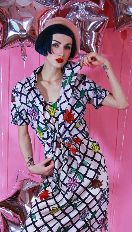 PAOM, Print All Over Me, digital print, design, fashion, style, collaboration, itsstellarose, Short Sleeve Workshirt, Short-Sleeve-Workshirt, ShortSleeveWorkshirt, Fence, Net, Floral, Unisex, Button, spring summer, unisex, Cotton, Tops