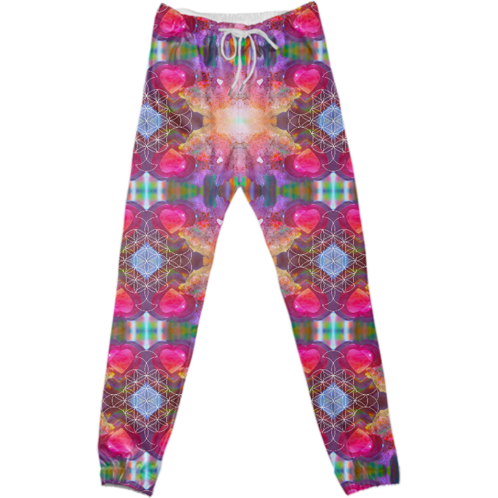 rainbow amethyst and rose quartz crystal rainbow mandala ~ legging  ~ design 04