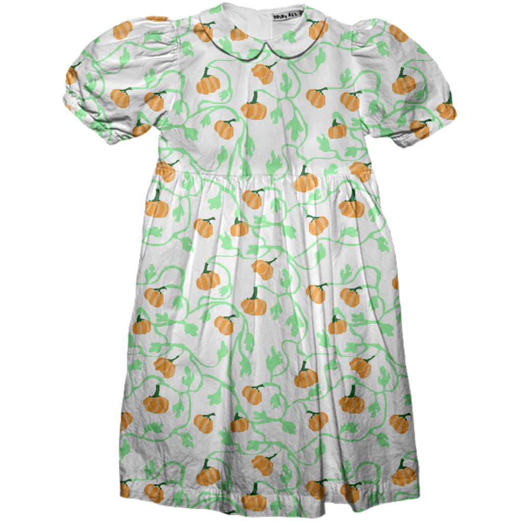 Fall Pumpkin Vines Kids Dress