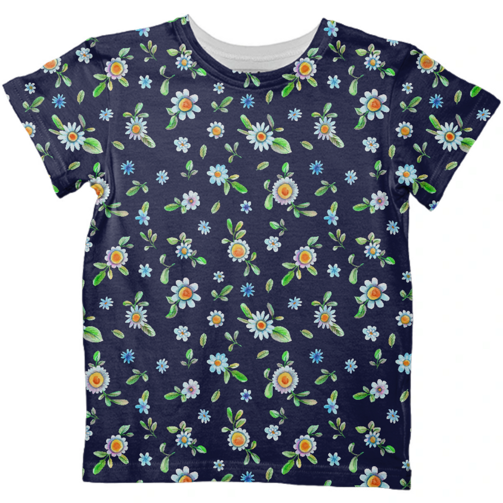 Watercolor navy floral daisies