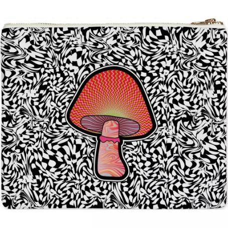 PAOM, Print All Over Me, digital print, design, fashion, style, collaboration, paomcollabs, Clutch, Clutch, Clutch, Red, Shroom, autumn winter spring summer, unisex, Poly, Bags