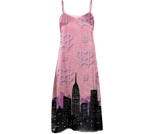 Pink Skyline Silk Dress