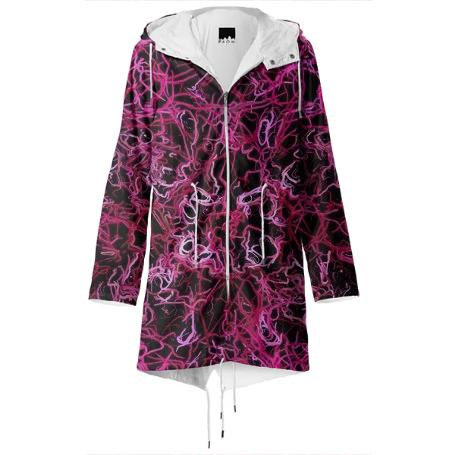 Hot Pink and Black Electric Lines 5078 Rain coat