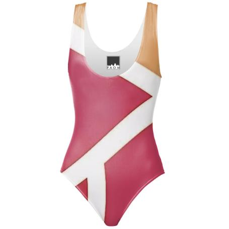Pink and White Stripe Bikini One Piece Swimsuit