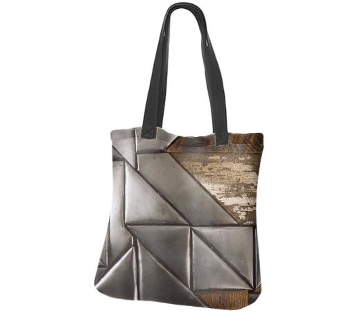 steel and wood quilt neoprene tote