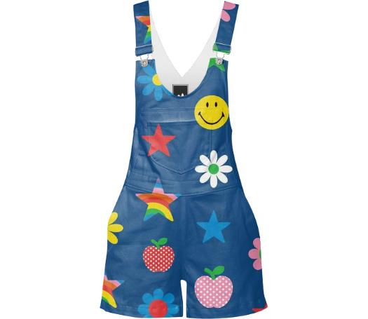 Navy Blue Charms Print Overalls