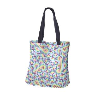 Rainbow and white swirls doodles Neoprene Tote Bag