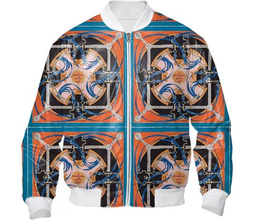 Orange Blue Horse Reins bomber jacket