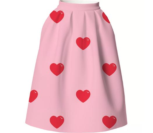 Heart Attack VP Neoprene Full Skirt Repeat Med Pink
