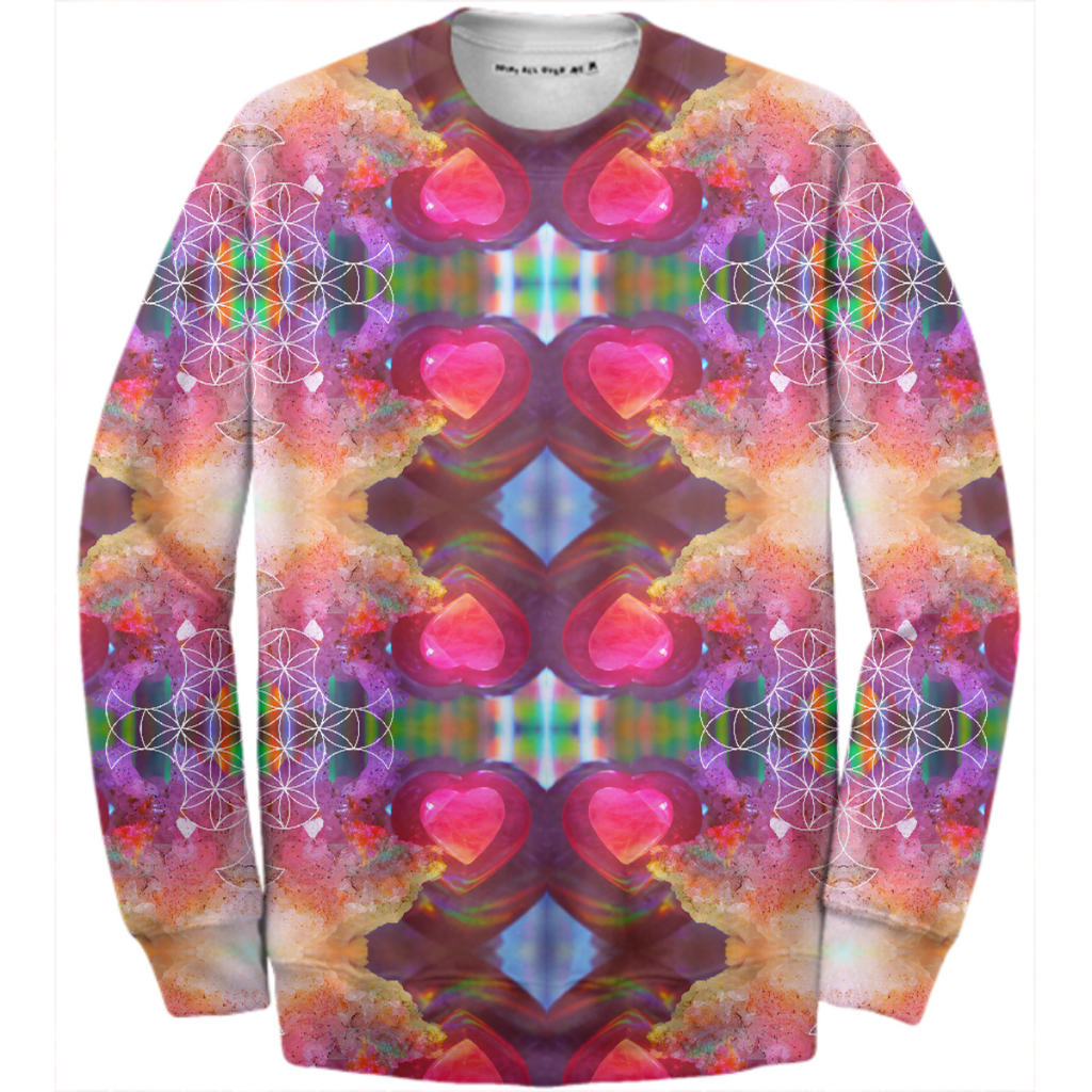 rainbow amethyst and rose quartz crystal rainbow mandala ~ cotton sweatshirt ~ style 02