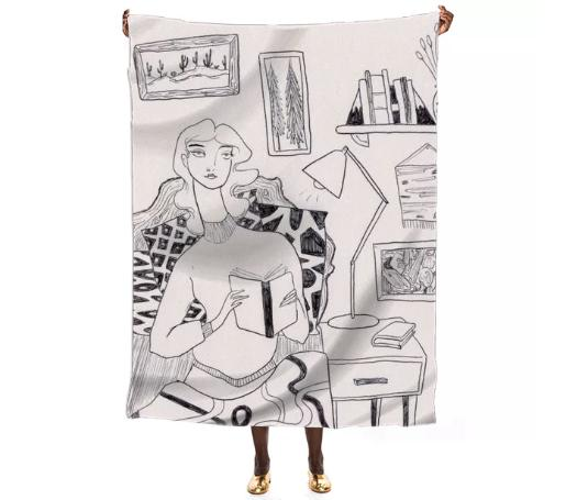 Reading in Bed Silk Scarf by Amanda Laurel Atkins