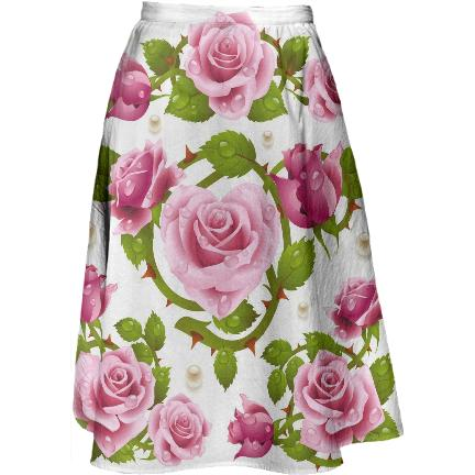 Tribal Rose Midi Skirt PINK