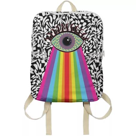 PAOM, Print All Over Me, digital print, design, fashion, style, collaboration, paomcollabs, Backpack, Backpack, Backpack, Rainbow, Eye, autumn winter spring summer, unisex, Poly, Bags