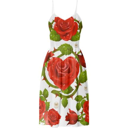 Tribal Rose Summer Dress RED