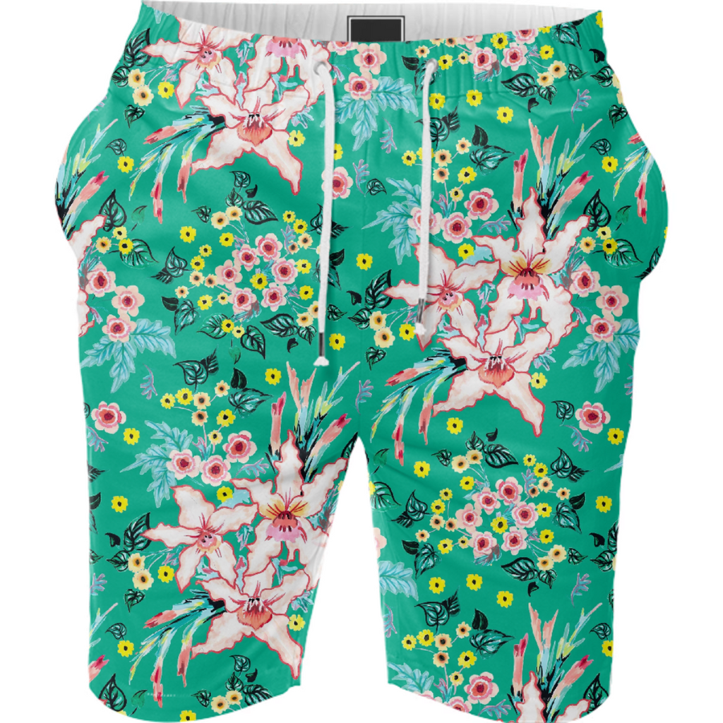 Tropical Lily pink and Teal Floral pattern