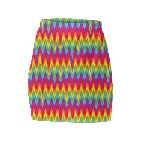 PAOM, Print All Over Me, digital print, design, fashion, style, collaboration, paomcollabs, Mini Tube Skirt, Mini-Tube-Skirt, MiniTubeSkirt, Drippy, Rainbow, spring summer, unisex, Spandex, Bottoms