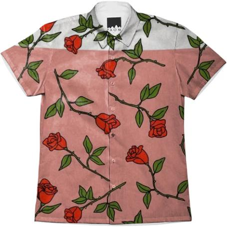 PAOM, Print All Over Me, digital print, design, fashion, style, collaboration, itsstellarose, Short Sleeve Workshirt, Short-Sleeve-Workshirt, ShortSleeveWorkshirt, Thorny, Unisex, Button, spring summer, unisex, Cotton, Tops