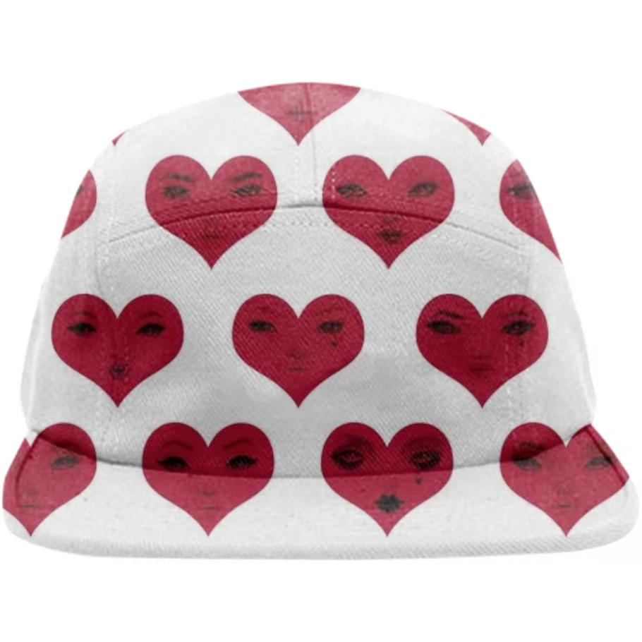 PAOM, Print All Over Me, digital print, design, fashion, style, collaboration, pidgin-doll, pidgin doll, Baseball Hat, Baseball-Hat, BaseballHat, Red, White, Heart, Cap, spring summer, unisex, Poly, Accessories
