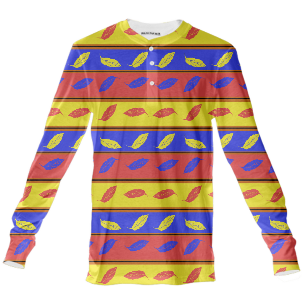 Red Yellow Blue Leaves Henley Shirt