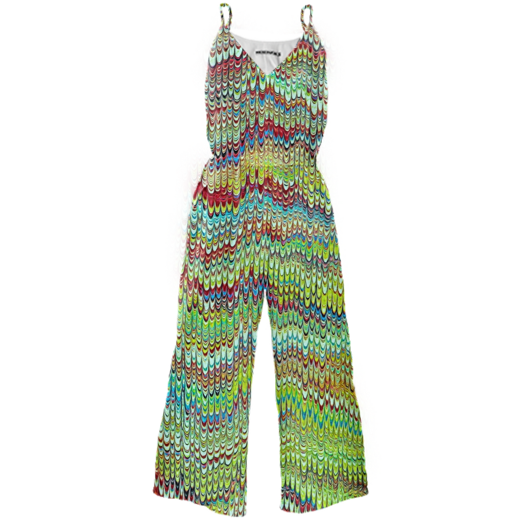 Cool Green Marbled Tie Waist Jumpsuit