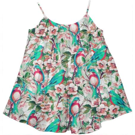 Birds Flowers Kids Tent Dress