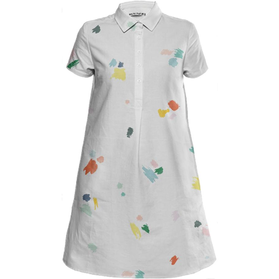 PAOM, Print All Over Me, digital print, design, fashion, style, collaboration, sugarandcloth, Mini Shirt Dress, Mini-Shirt-Dress, MiniShirtDress, Paint, Splatter, spring summer, unisex, Linen, Dresses