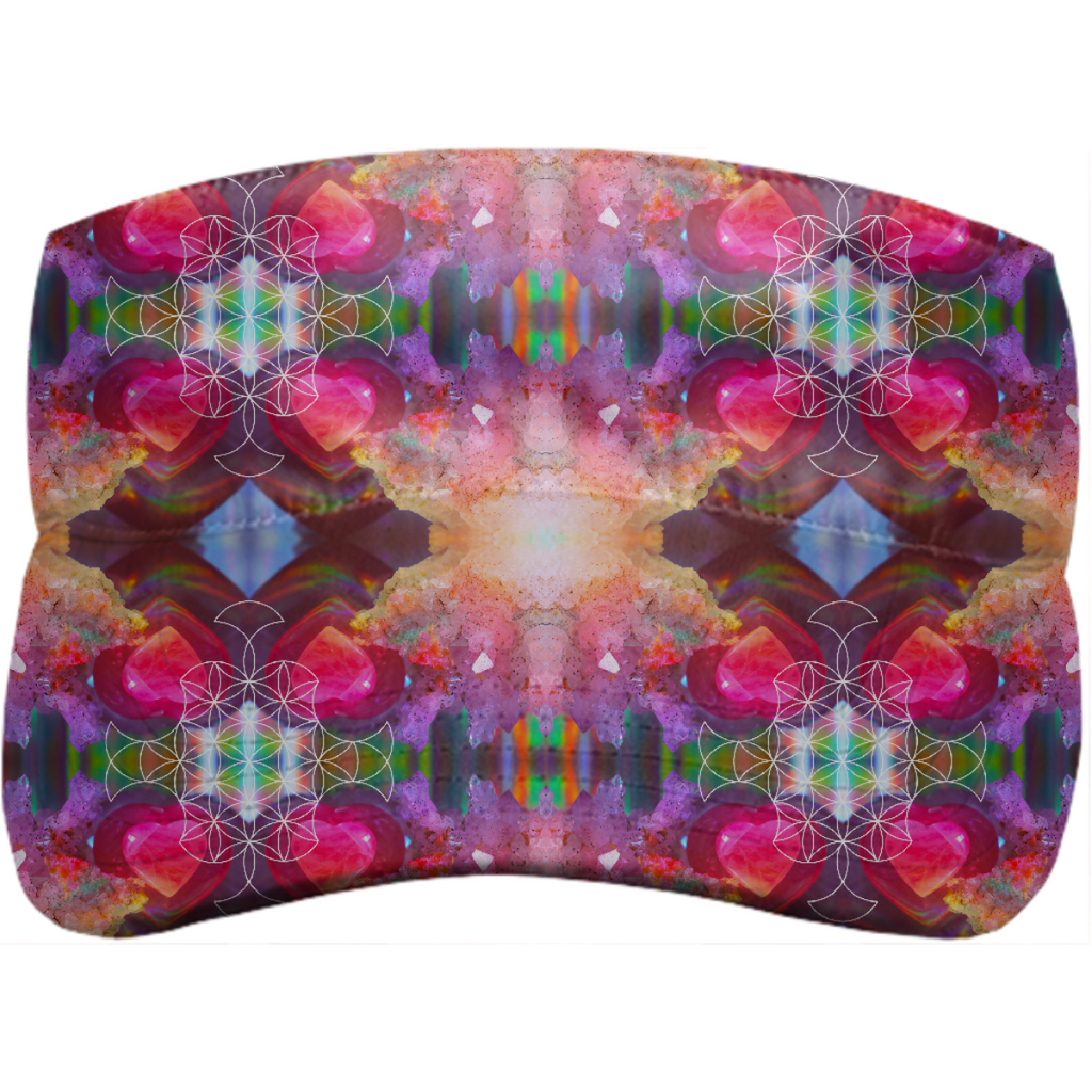 rainbow amethyst and rose quartz crystal rainbow mandala ~ visor  ~ design 01
