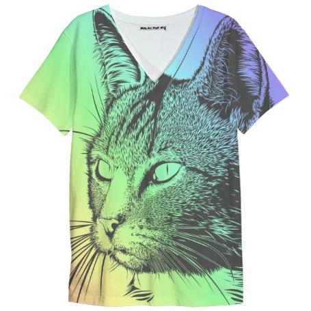 Rainbow Cat V Neck