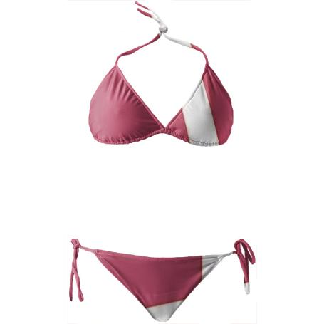 Pink and White Stripe Bikini