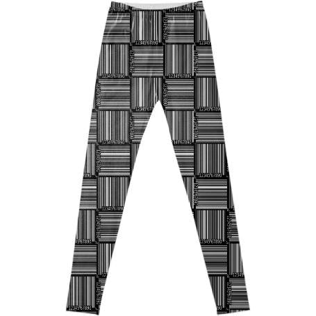 PAOM, Print All Over Me, digital print, design, fashion, style, collaboration, geoffrey-mac, geoffrey mac, Leggings, Leggings, Leggings, Black, Barcode, autumn winter spring summer, unisex, Spandex, Bottoms