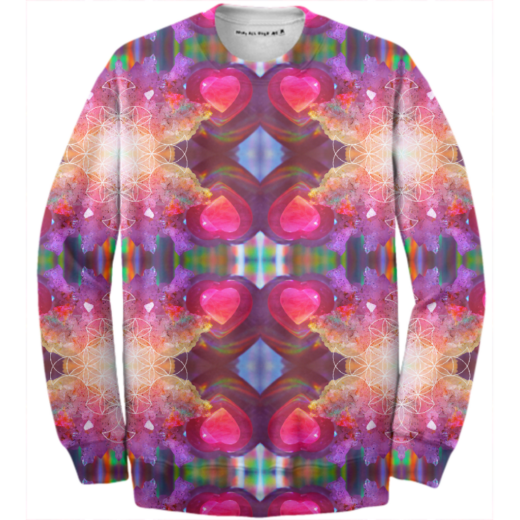 rainbow amethyst and rose quartz crystal rainbow mandala ~ cotton sweatshirt ~ style 01