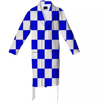 BRIGHT BLUE GINGHAM Cotton Robe